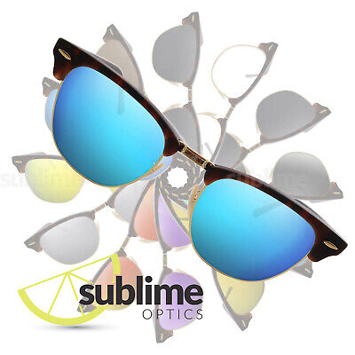 POLARIZED Metallic Blue Replacement Lenses for Ray Ban Clubmaster 51mm RB3016