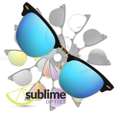POLARIZED Metallic Blue Replacement Lenses for Ray Ban Clubmaster 49mm RB3016