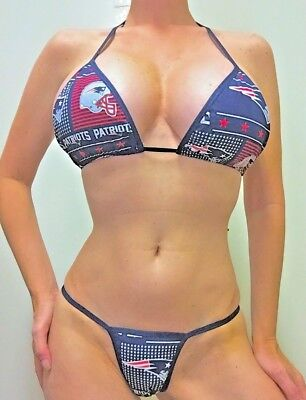 New Stripper/exotic Dancer  New England Patriots Thong Set A/b Top Xs/sml