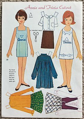 Vintage Golden Mag. Paper Doll, ANNIE and TRICIA, June 1967, by L. M. Edens