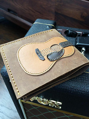 Genuine Leather Handmade Mens Acoustic Guitar Wallet With Guitar Pick Holder