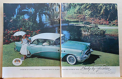1955 magazine ad for Buick, green Riviera, Springtime at Cypress Gardens Florida