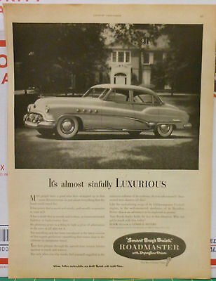Vintage 1951 magazine ad for Buick - Almost Sinfully Luxurious Roadmaster,