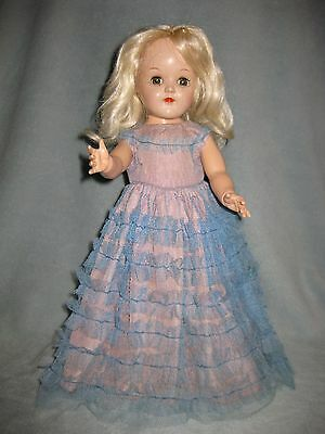 Toni Doll by Ideal in Original Shoes and Gorgeous Vintage Dress Platinum 15""