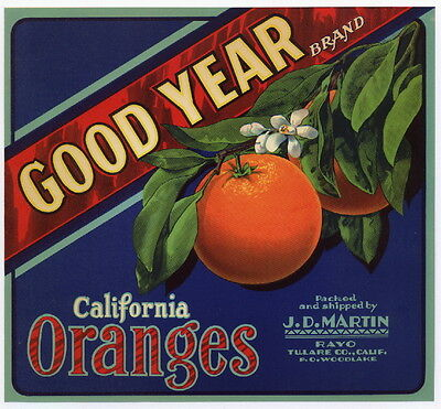 GOOD YEAR Vintage Tulare County Orange Crate Label, **AN ORIGINAL 1940'S LABEL**