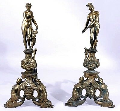 "Pair 25"" Antique FIGURAL BRONZE FIREPLACE ANDIRONS  CHENETS Male Female Nudes"