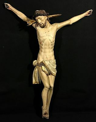 "26"" Baroque 18th-19th c. WOOD CARVED CORPUS FOR CRUCIFIX Jesus Christ CHRISTIAN"