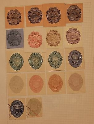 Nicaragua - 18 Early Cut Squares - Mint / Used -  Lot 061316