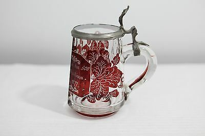 Antique German / Bohemian Glass Beer Stein Ruby Red Flash Engraved 1899