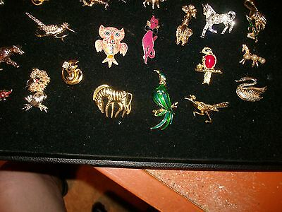Wholesale Lot of 20 Pieces Jewelry Brooch  Pins  Animals Birds Bull