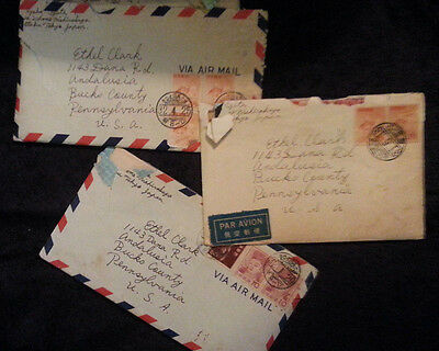 3 Pen Pal letters Tokyo Japan to Bucks Co PA 1950s stamped letter Japanese Ads