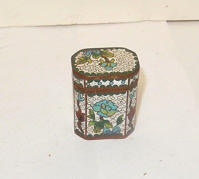 Old 19Th Century Cloisonne Floral White Enamel Opium Canister Jar Box