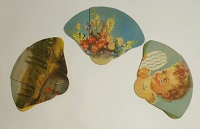 3 Vintage Hand Held Pull Out Cardboard Fan - flowers, child, fisherman