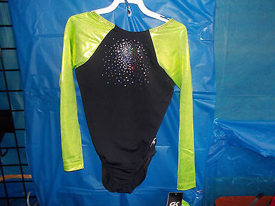 New GK Elite long Sleeve competition Leotard Adult Medium AM Gymnastics
