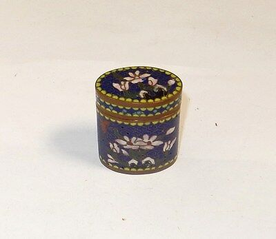 Old 19Th Century Cloisonne Floral Blue Enamel Opium Canister Jar Box