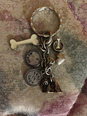 Sterling Silver Maltese With 5 Charms Dog Keychain