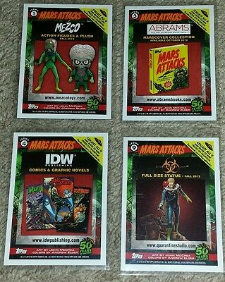 Mars Attacks Promo Cards! Total of 4 Cards! P1,P3,P4,P9 2012 SDCC