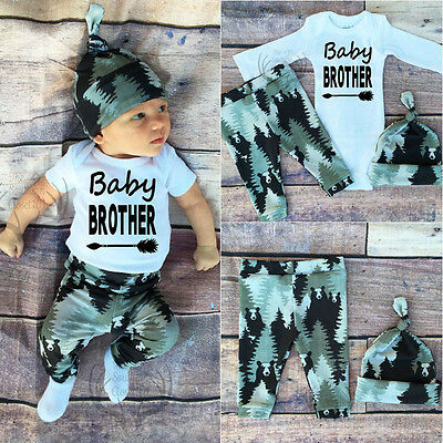 3PCS Newborn Baby Boy Top Rompers Pants Leggings Hat Bear Outfits Set Clothes