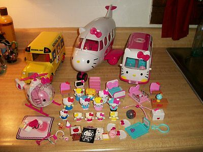 Lot Hello Kitty Rescue Set School Bus Airplane Figures Furniture Accessories