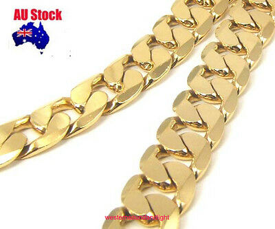 12MM/10MM 23.7'' Quality 24K Yellow Gold Filled Heavy Bold Men's Chain Necklace