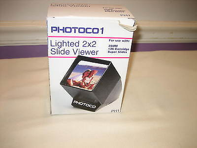 Photoco1 Lighted Slide Viewer 2X2 for Super Slides, 35MM, 126 Cartridge