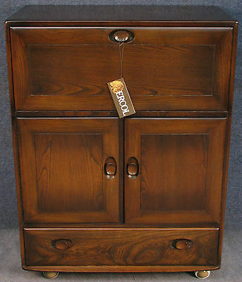 Ercol Elm Windsor 469 Serving / Drinks Cabinet / Cupboard / Secretaire Desk