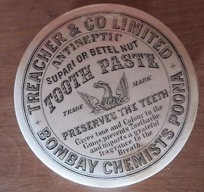 British Pharma TEACHER & CO LTD BOMBAY Chemist Poona Rare Ceramic Toothpaste Box