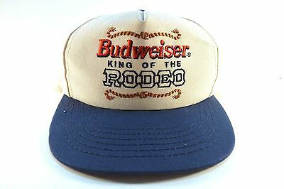 """Vintage Budweiser Snapback Hat Cap """"King Of The Rodeo"""" Made in USA"""