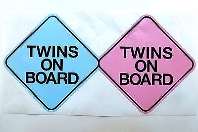 "Fraternal Boy/Girl ""Twins on Board"" Novelty vehicle Bumper Sticker Decal."