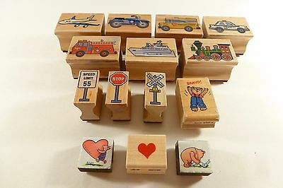 Lot of 14 Wooden & Foam Block Rubber Ink Stamps Police Fire Disney Pooh Piglet