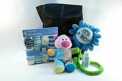 It's A Boy Gift Set. Plush Toy, Baby powder, Flannel Blankets, Diaper Backpack