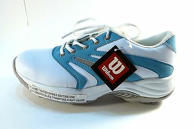 Wilson Woman's light quality golf shoe powder blue white spikes size 10 New