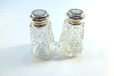 Vintage Pressed Glass salt & Pepper shakers with Sterling Silver tops .925