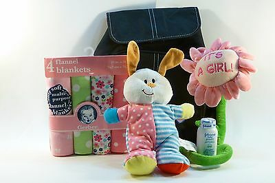 It's A Girl Gift Set. Plush Toy, Baby powder, Flannel Blankets, Diaper Backpack