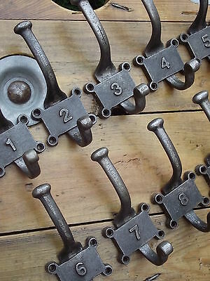 10 x Numbered Vintage Industrial Style Cast Iron Coat Hooks pegs rail rack door