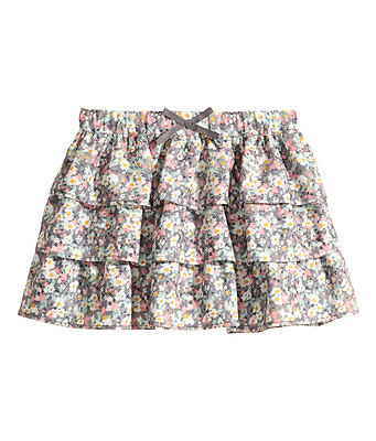 H&M Kids Grey Pink Floral Tiered Skirt - 2-3 Years
