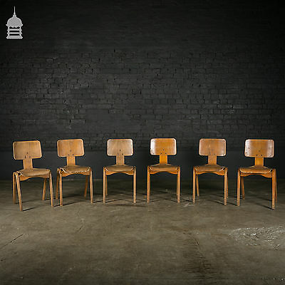 20th C Stackable Beech School Chairs – Set of 6