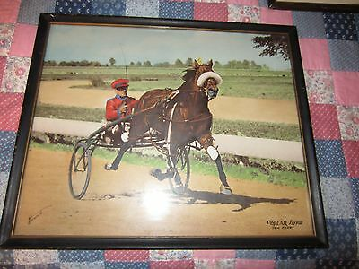 Beautiful color Harness Racing print by Allen Brewer Jr. of Poplar Byrd driven b