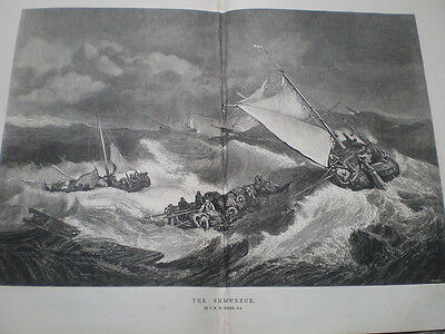 The Shipwreck from J M W Turner 1872  old print ref S