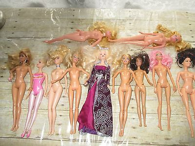 Barbie Dolls Lot Of 11 Various Years 1999-2010 Unclothed And 1 With Clothes
