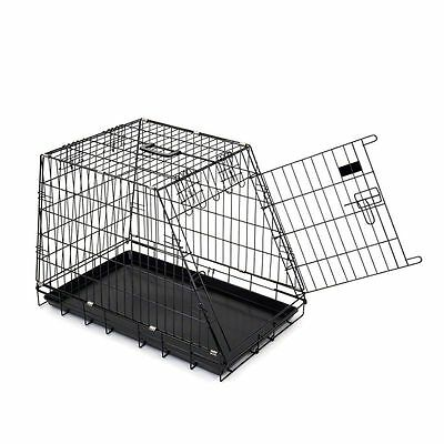 Folding Dog Pet Cage Kennel Metal Sloping Transport Crate Car Travel Carrier Box
