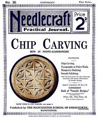 Needlecraft Practical Journal #20 c.1902 Instructions Chip Carving & Pyrography