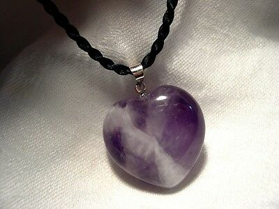 AMETHYST Gemstone Heart Necklace Protection Calming Psychic