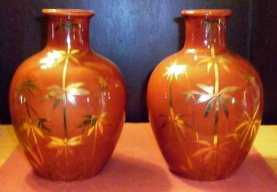 Vintage Pair Japanese  Porcelain Vases With Gilt  Decoration  Exc- Condition