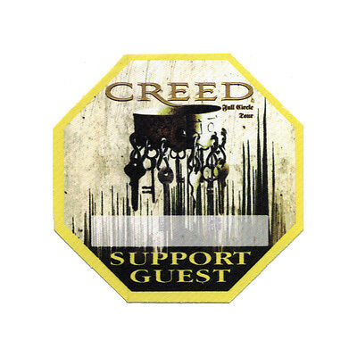 Creed authentic Support Guest 2010 tour Backstage Pass
