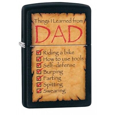 Zippo Things I Learned From Dad Windproof Lighter - Brand new!