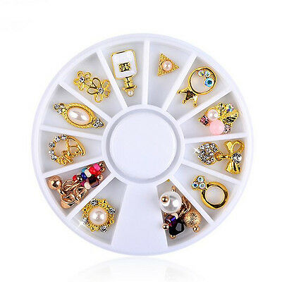 Nail Art Wheel Fleur Strass Perle Noeud Ongle Metal 3D Tips Decoration Manucure