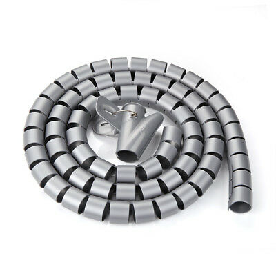 30mm Flexible Spiral Tube Cable Wire Wrap Computer Manage Cord Gray 4.9Ft w Clip