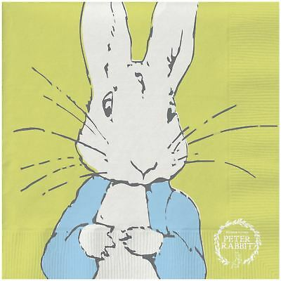 "Beatrix Potter Peter Rabbit Blue White 3-Ply 20 Paper Napkins 13""X13""-33X33Cm"
