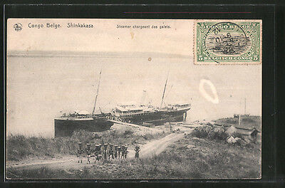 formidable CPA Shinkakasa, Steamer chargeant des galets 1912